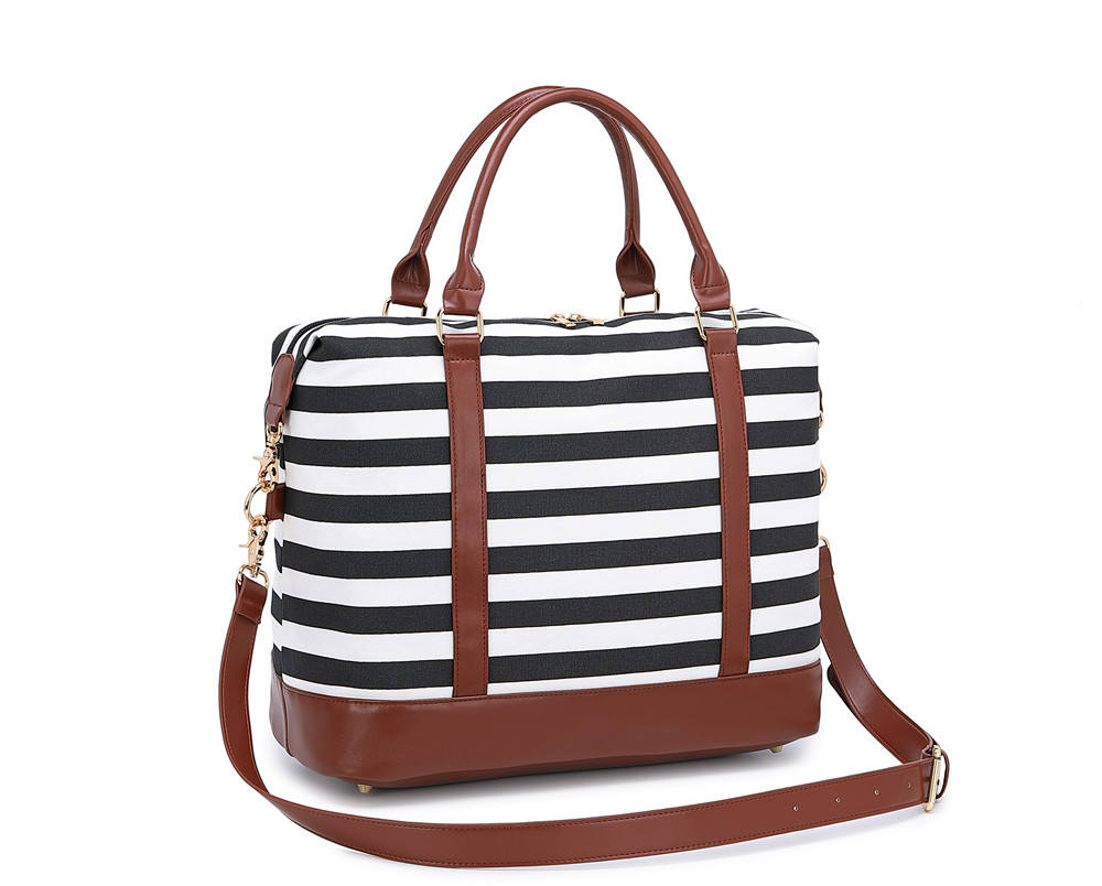 New design bag black and white stripes travel bag portable messenger shoulder bag