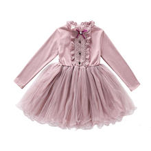 Wholesale New Fashion Long Sleeve Sweet Big Girls' Autumn Party Princess Lace Layering Dress