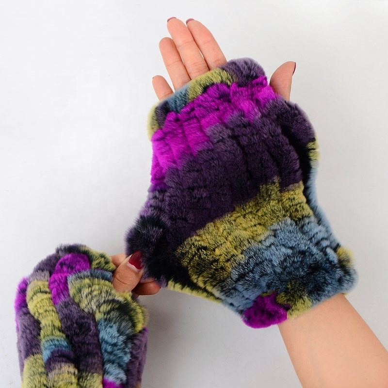 Real Warm Rex Rabbit Fur Handmade Weaving Winter Lady Fashion Fingerless Glove