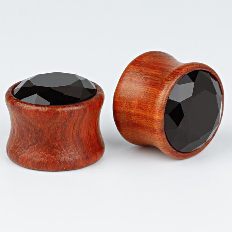 Heart Inlay Organic Gauges Plugs Earrings Pair of Bamboo Wood Ear Tunnels