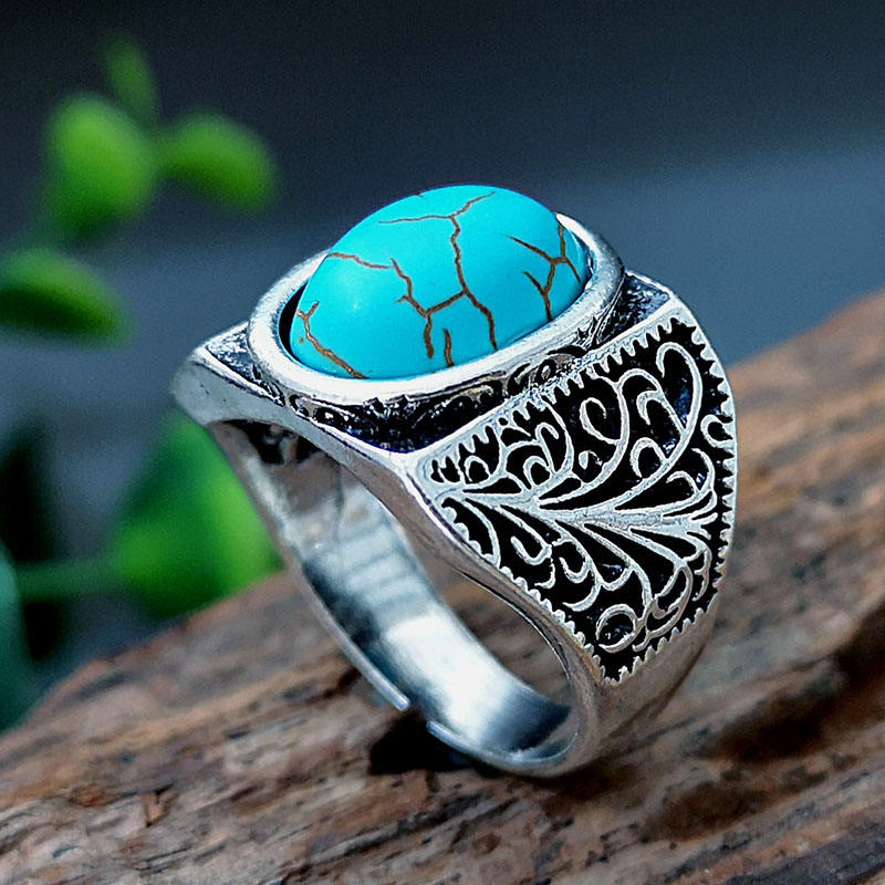 Manly Personalized Carved Vintage Silver Color Natural Turquoise Men Ring Green Gem Male And Female Rings