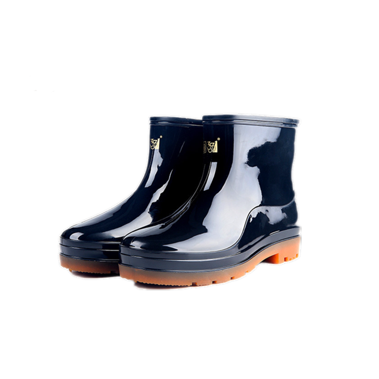 PVC nonslip cheap black white working rubber sweatabsorbing men ankle rubber rain boots