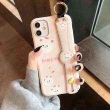 Shenzhen round pattern wristband phone casefor Iphone 6s 6plus 7 7 plus small brown bear IMD phone case