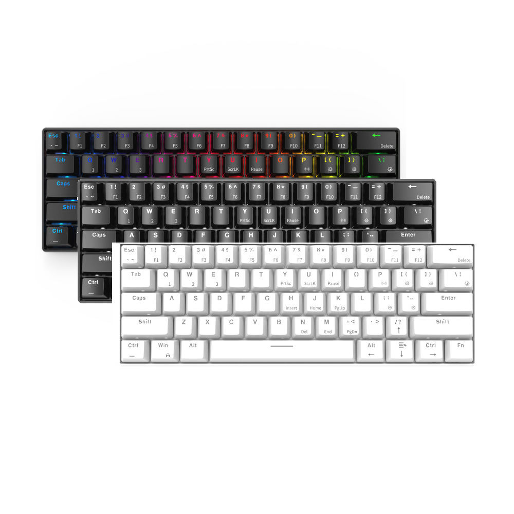 2020 neue RGB Bluetooth 3,0 Dual-Modus Kompakte 61 Schlüssel Mechanische Gaming Tastatur für IOS Android Windows