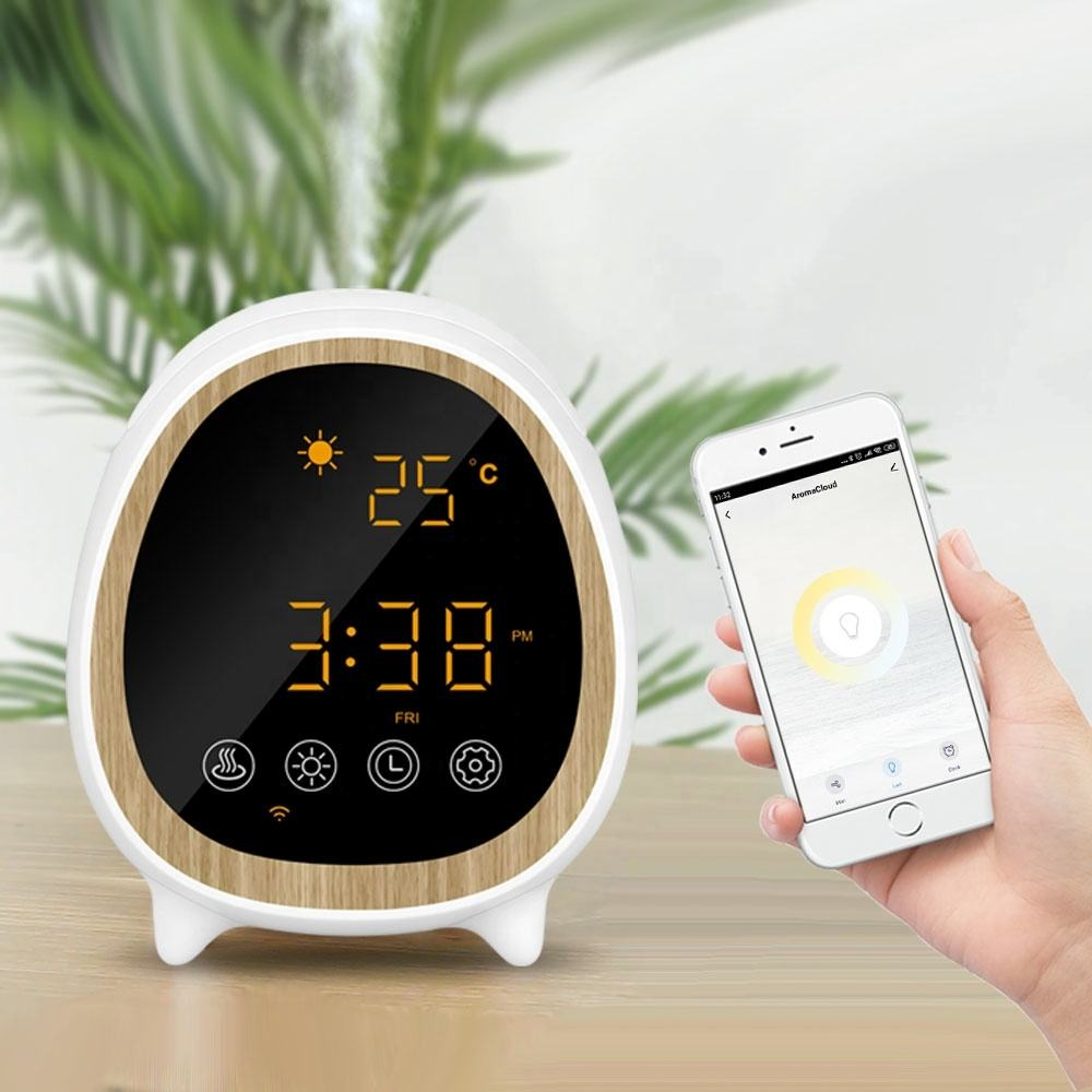 Unique products to sell 2020 new novel Tuya wifi weather clock smart aroma diffuser