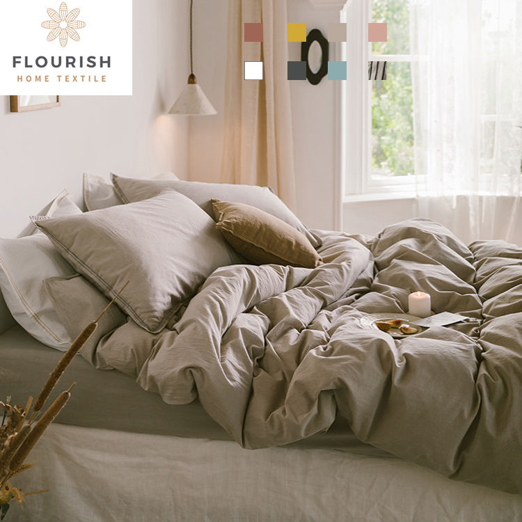 Flourish Hotel Home King Size Wedding Satin Velvet Polyester Cotton Bed Sheet Pillowcase Bedding Linen Sheet Set