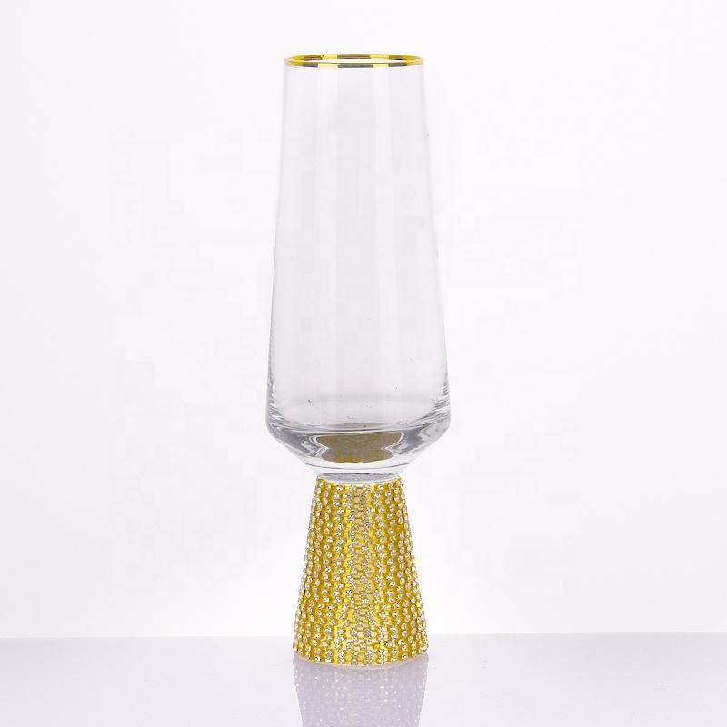 High Quality Gold Rim Wine Glasses Champagne Flutes With Diamond Base