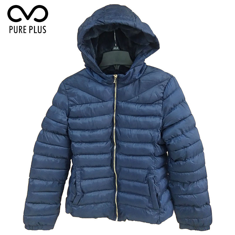 Womens Light Warm Front Zip Up Padded Blue Jacket For Outwear
