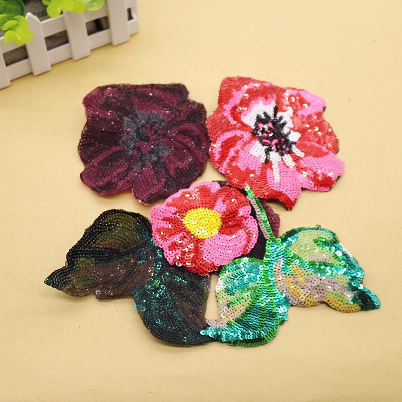 Wholesale Stock High Quality Fashion Sequin Lace Flower Embroidery Applique 3d