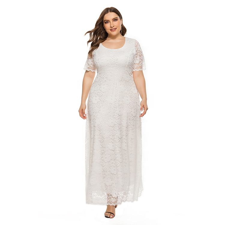In stock XL-5XL plus size solid color lace women maxi dresses long