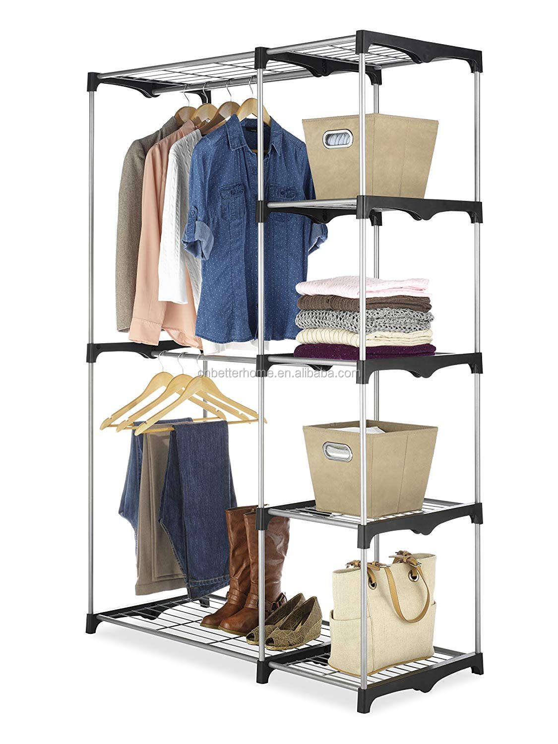 Portable Clothes Closet Wardrobe With Hanging Rod And Storage Rack