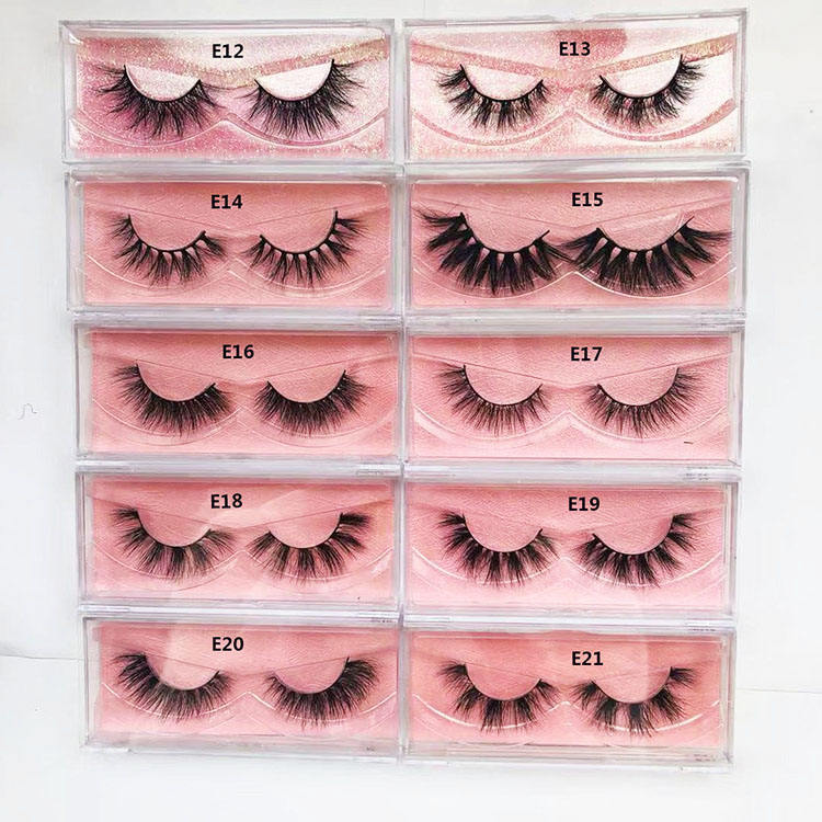 3D Mink Eyelashes Vendor 15mm 16mm Natural Mink Eyelashes Custom mink eyelashes and package