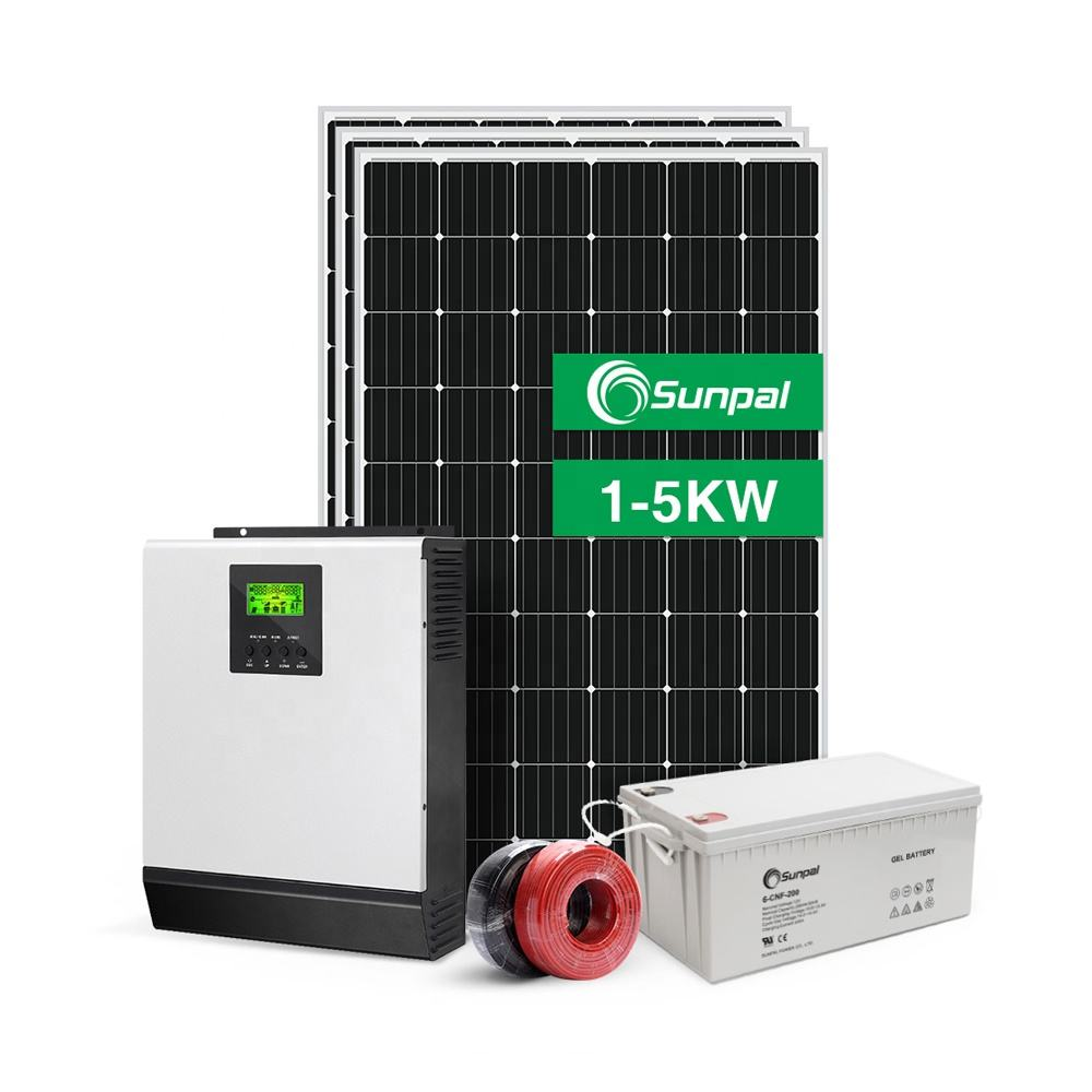 Complete Solar Energy System Home 5KW 3KW Off Grid Hybrid Solar Panel Power PV System 1KW 2KW 4KW