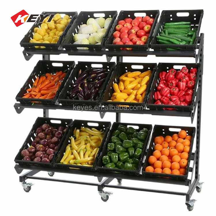 Custom Design Supermarkt Planken Houten Fruit Plank Fruit Display Stand Fruit Groente Display Rack Voor Winkel Koop