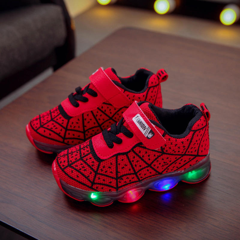 Hot selling designers children boy girls baby casual running sport Spiderman flashing glowing light up led sneakers kids shoes