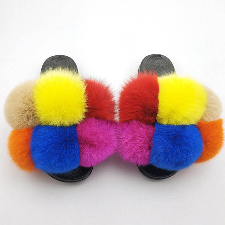 New Design Big Fur Slippers Ladies Fur Slippers 2021 Fur