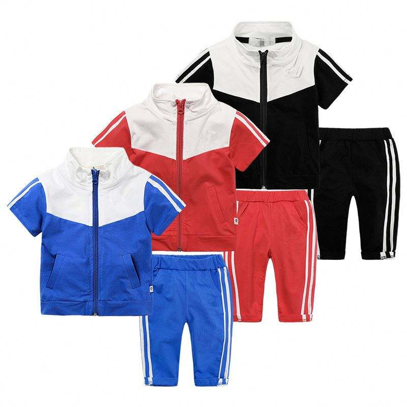 Custom short sleeve kids tracksuits wholesale track suits for children
