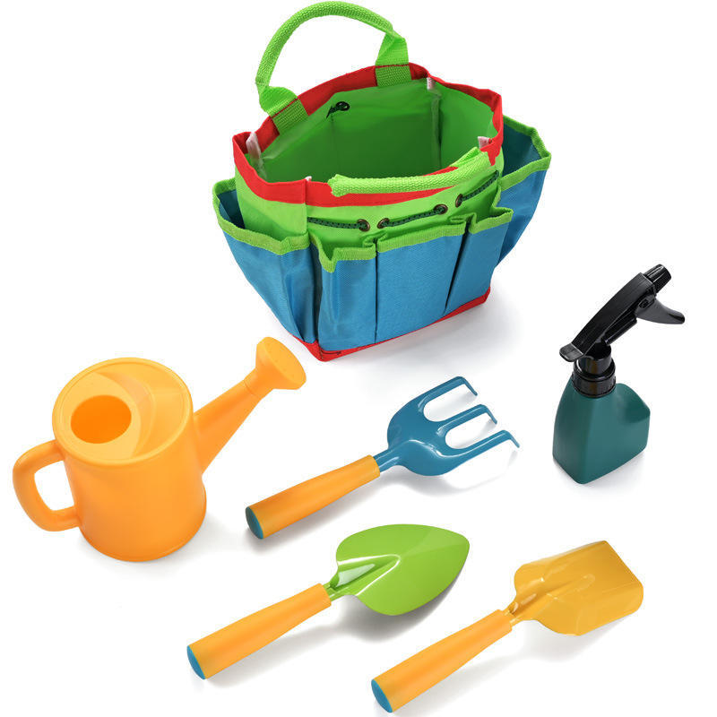 Customized 6pcs Kids Gardening Tools Kit Set With Garden Tote Hand Bag Watering Can Shovel Rake Fork all in one set