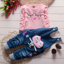 Fashion casual comfortable cute cartoon long sleeve T-shirt denim pants kids clothing girl wholesale children boutique clothing