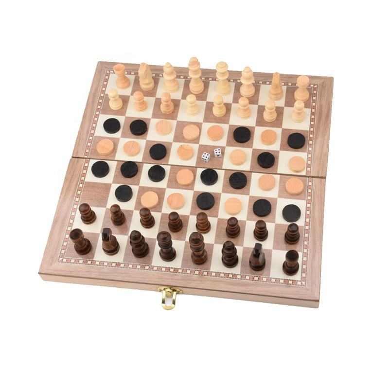 RJ 3N1 Multifunction High Quality Sling Puck International Wood Chess Games Wooden Chess and Backgammon Set
