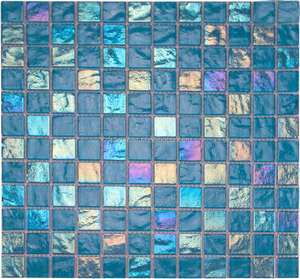 23X23mm New building construction 4mm thickness Iridescent blue crystal glass mosaic for swimming pool tile