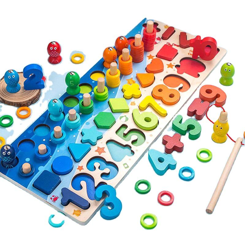 New Cognition Match Preschool Wooden Montessori Toys Count Geometric Shape Math Board Early Education for Kids