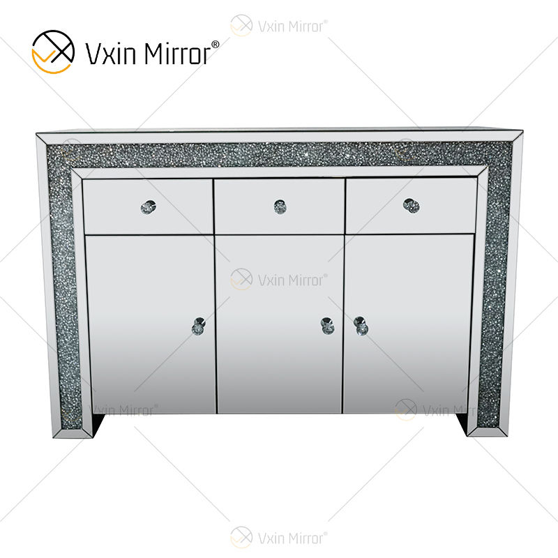 Elegant Home Decor WXF-099 Silver mirrored furniture living room Cabinet With Muti Drawers