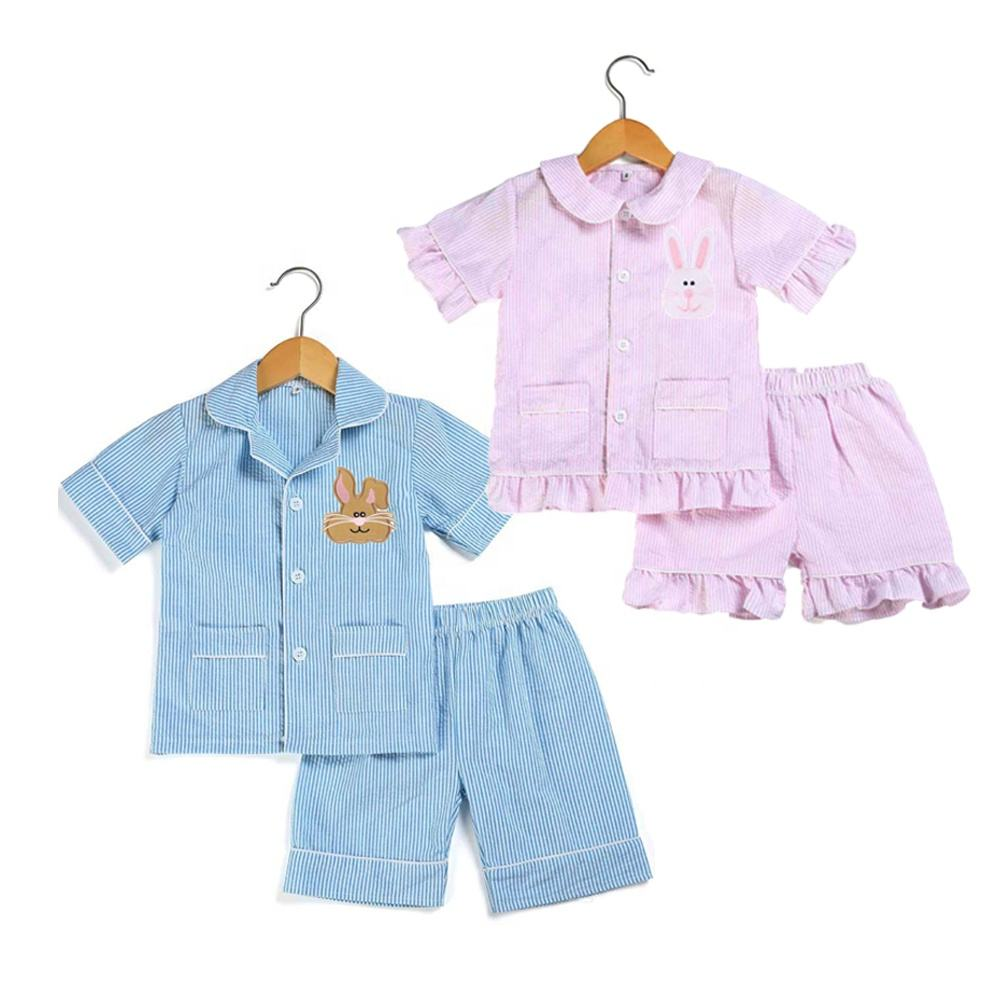 Summer baby pajamas cute bunny pajamas easter outfits seersucker pyjamas boutique nightgown in stock no moq rts