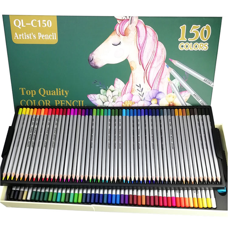 150 Unique Colors Custom Wooden Water Color Pencil, Rainbow Color Pencil Set With Box