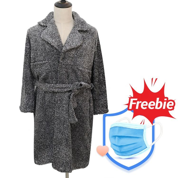 Special Design Wholesale Fleece Stock Custom Grey Women Bathrobe