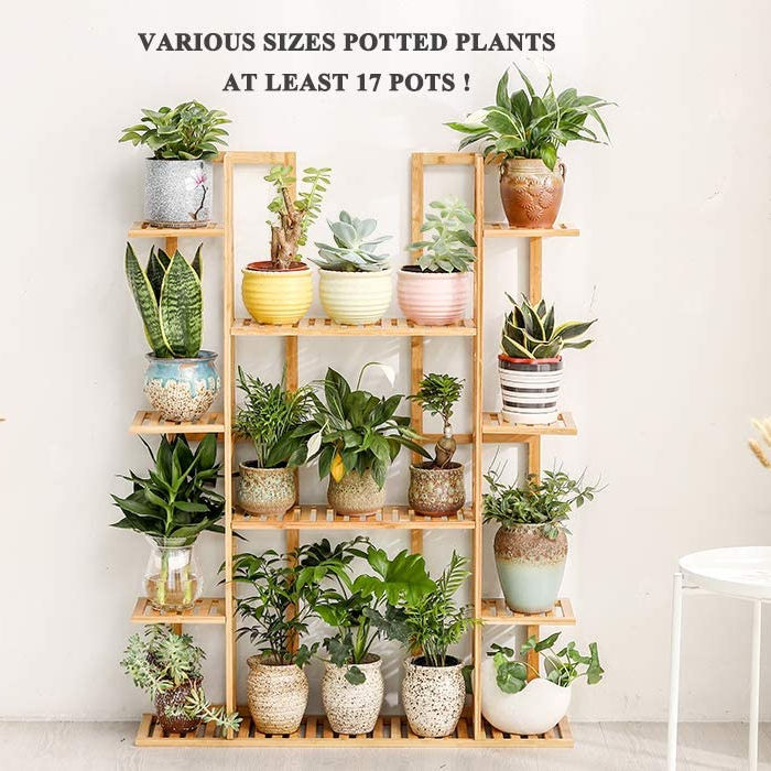 Bambu 9 Tier 17 Pot Tanaman Rak Beberapa Pot Bunga Pemegang Rak Outdoor Indoor Planter Display Unit Rak