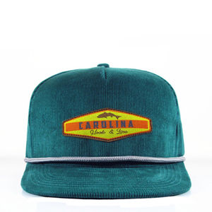 Wholesale green custom corduroy cap snapback hat with rope