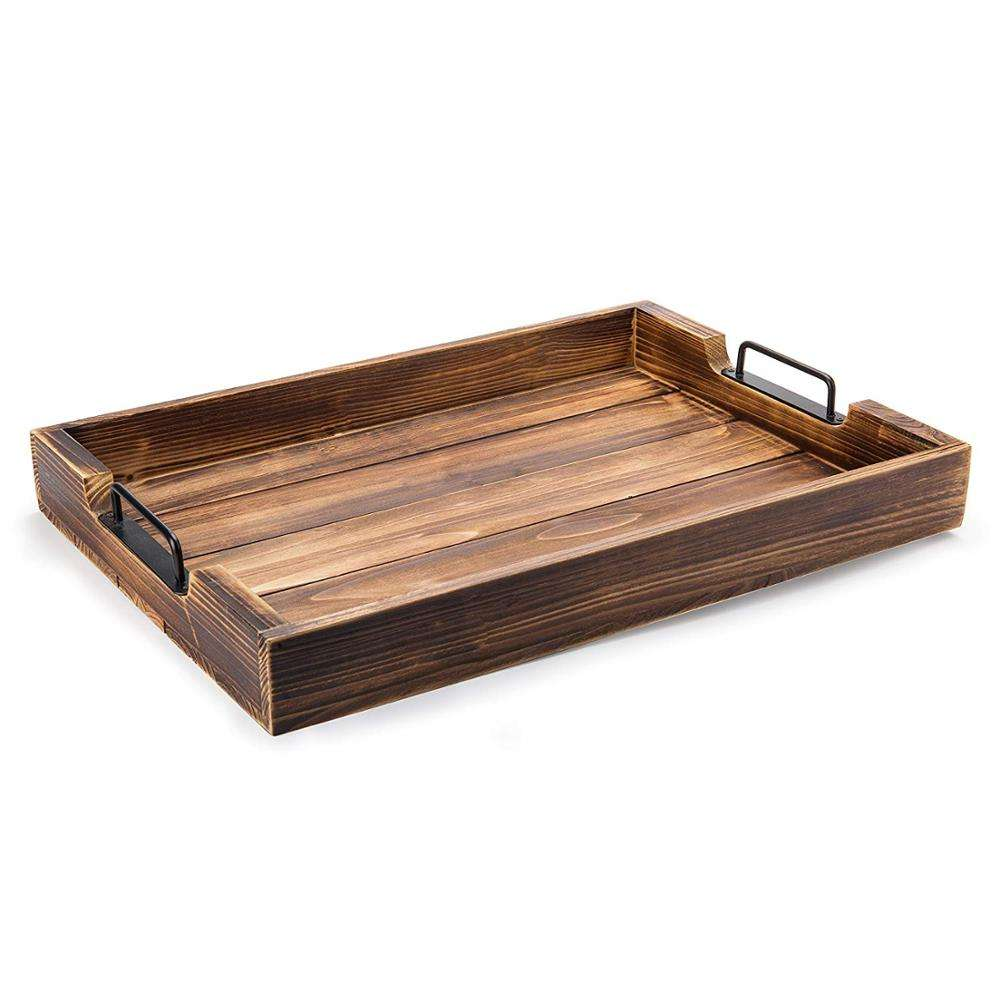 Rustic Torched Wood Serving Tray with Modern Black Metal Handles