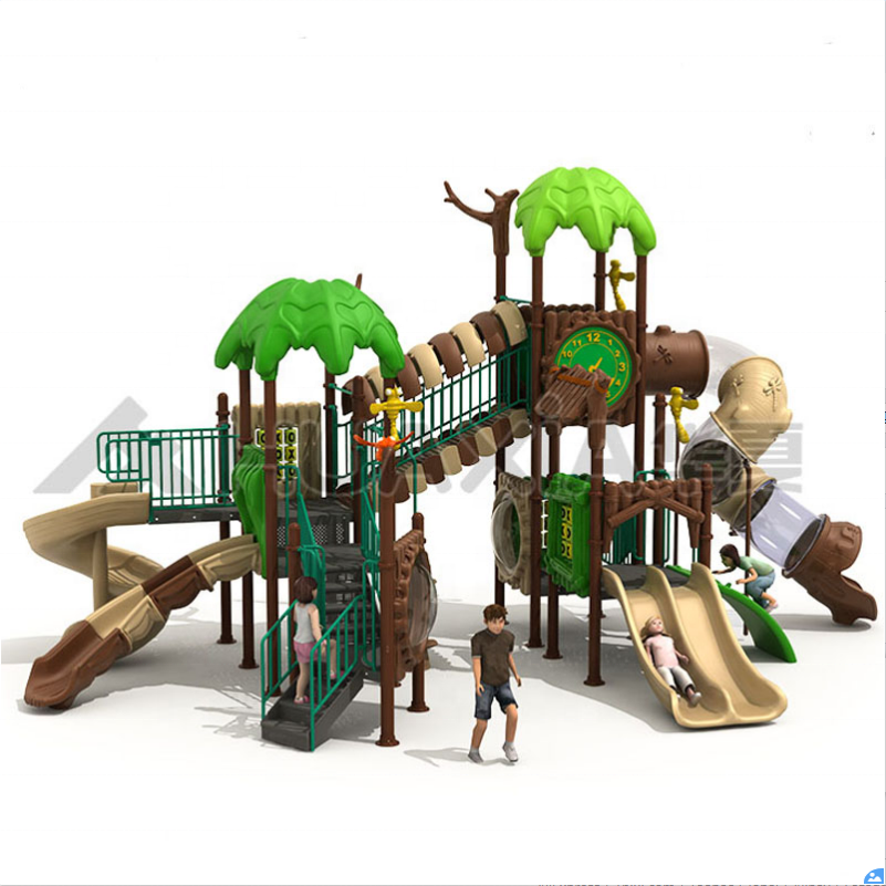 2020 high quality forest theme outdoor amusement playground fence plastic slide