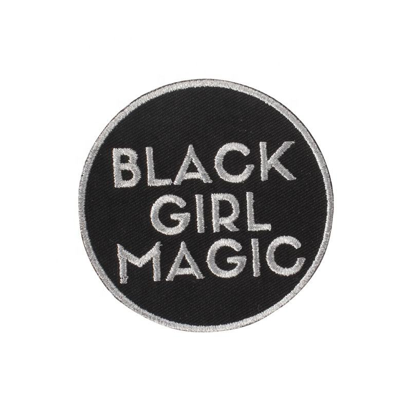 Factory Price Custom Black Girl Iron On Embroidered Patches for Clothing