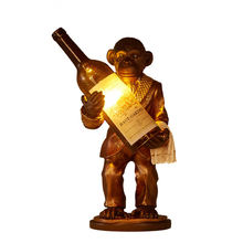 Retro Creative Resin Orangutan Table Lamp Monkey Glass Bottle Desk Light Bar Cafe Restaurant Bedroom Indoor Lighting