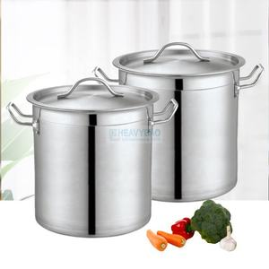 Heavybao Kitchen Equipment Stainless Steel Double Aluminum Bottom Industrial Cooking Stock Pot Set With Ear For Hotel