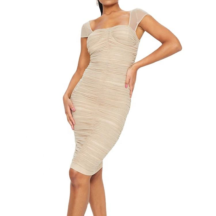 Latest Design Formal Nude Mesh Square Neck Short Sleeve Back Zip Up Ruched Women Midi Dress