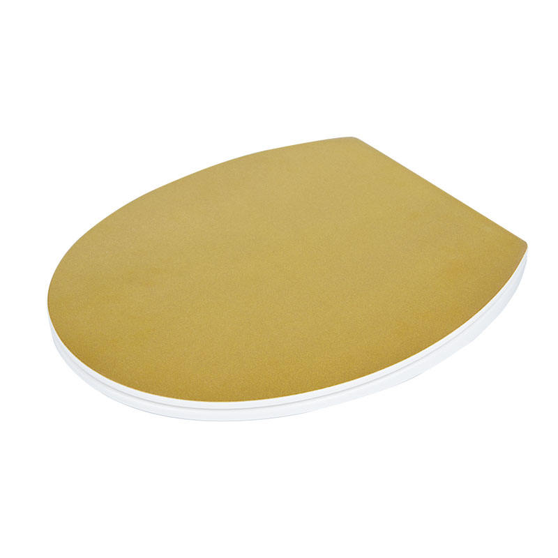 Diy designer metallic gold glitter decorative duroplast toilet seat one button release