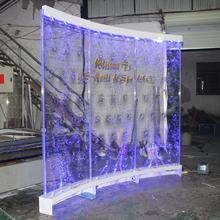 Arc led dancing acrylic semicircle bubble water wall used as curved  partition screen