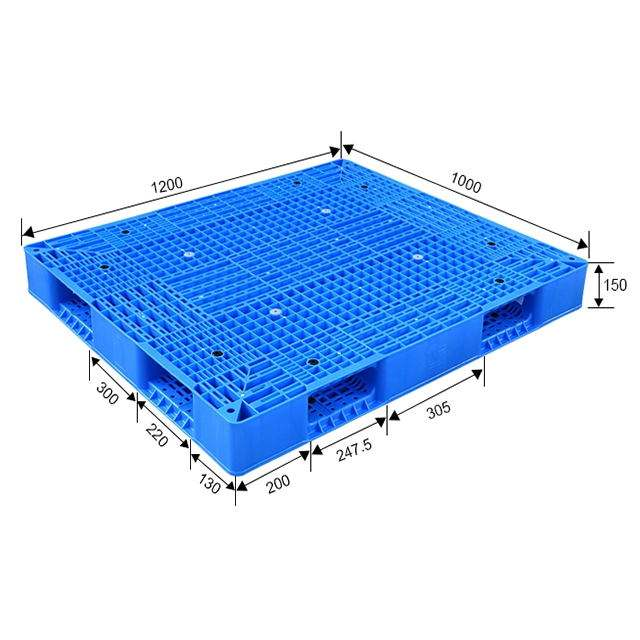 Heavy duty double side face 4 way entry industrial reversible warehouse use stackable large plastic pallet
