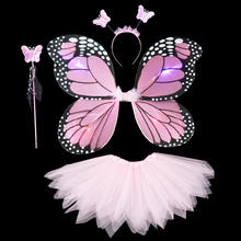 FZ04  3pcs kit Performance stage butterfly wings props colorful butterfly fairy costume with led