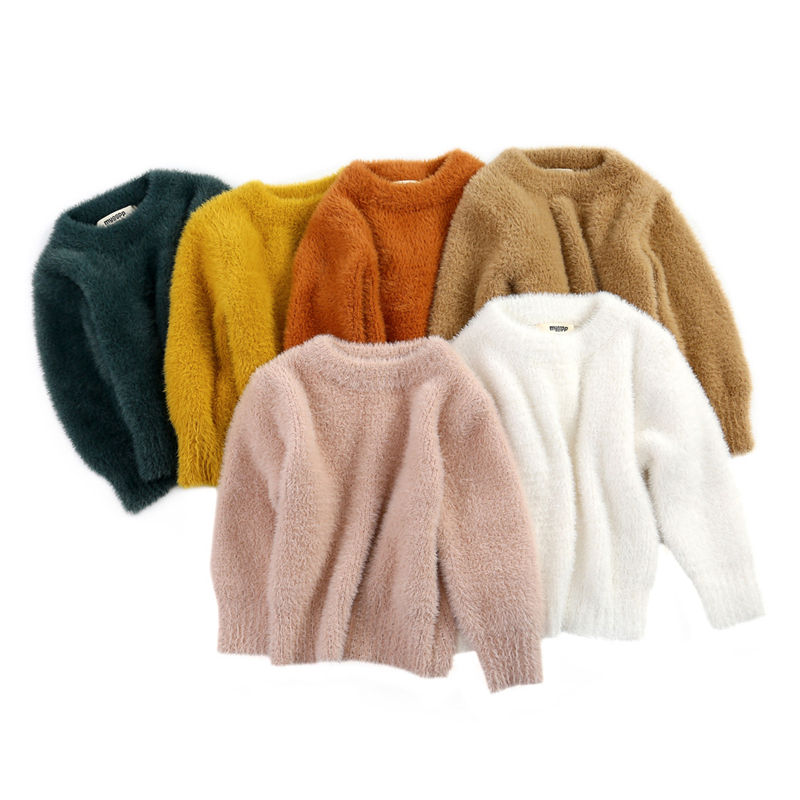 Solid color unisex baby girl winter pullover hairy sweater children knitted sweater toddler kids warm sweaters