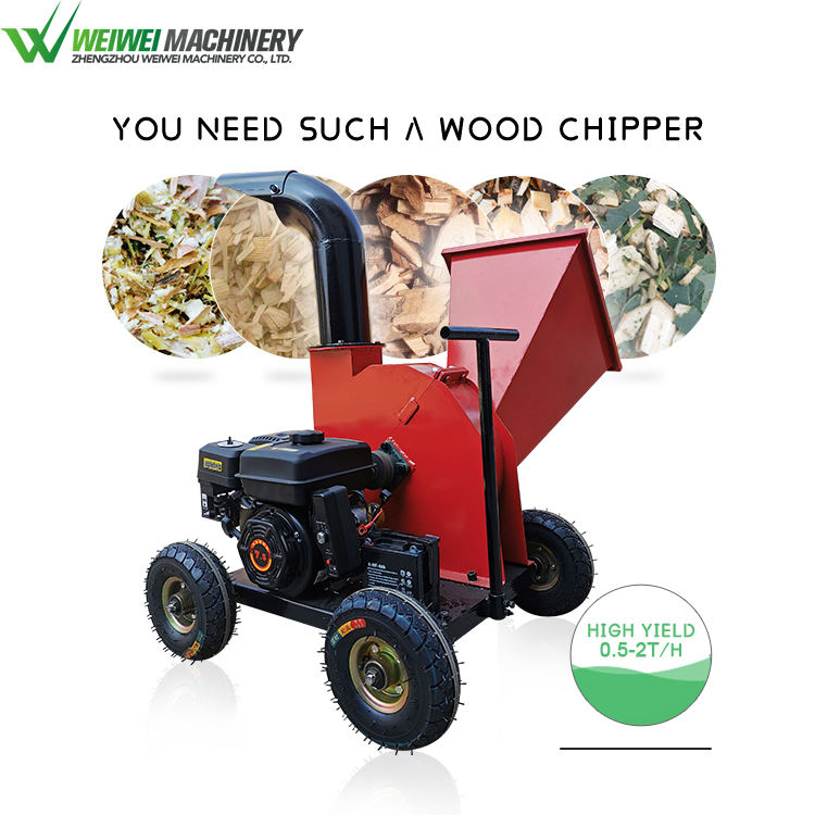 Weiwie small chips making gasoline engine wood chipper