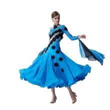B-19428 Professional Customized Women Ballroom Dress Embroidered Sheer Blue Clothes Waltz Modern Dance Tango Cha-Cha Dress