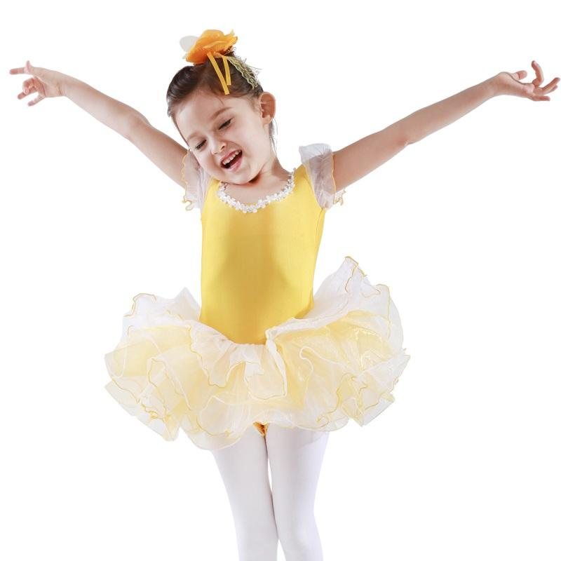 Wholesale lace puff sleeve dance Training ballet party tights tutu Girls costum Ballet Leotards Kids Ballet