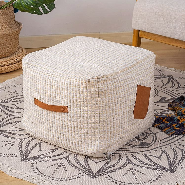 Top Quality Natural White Casual Outdoor Comfortable Kilim Woven Ottomans and Pouf With Removable Cover