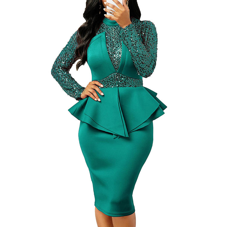 Elegant Luxury Sequin Patchwork Bodycon Long Sleeve Formal Evening Dress For Lady Fashion