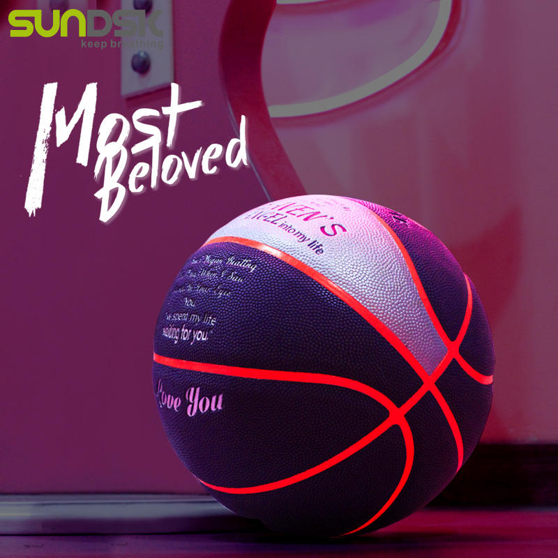 Size 7 custom PU leather glow in the dark light up LED basketball for gifts