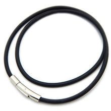 Black 2/3/4/5mm Rubber Leather Cord Necklace With Stainless Steel Bayonet Clasp For Choker Necklace Making Rope
